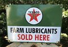 VINTAGE TEXACO FARM LUBRICANTS SOLD HERE PORCELAIN GAS PUMP SIGN (DATED 1956)