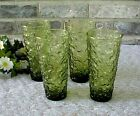 Vintage Lido Milano Glasses Tumblers (4) Textured Avocado Green Anchor Hocking