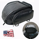 Black PU Leather Motorcycle Scooter Rear Seat Saddle Bag Luggage Travel Bag Box