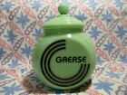 Jadeite Green Glass Art Deco Black Letter Grease Jar/ Lid in Excellent Condition