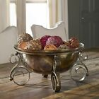 Tuscan Decor Scrolled Iron  Glass Fruit Bowl Centerpiece Decorative Old World