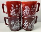 4 VINTAGE HAZEL ATLAS CHILDS MUGS CUP AMERICAN INDIAN DESIGN BURGUNDY MILK GLASS