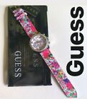 New GUESS Melody Ladies Watch Multifunction Dial Pink White Purple Floral Band