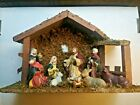 NATIVITY SCENE SET WITH WOOD STABLE Real Moss Top fixed placed Figurines