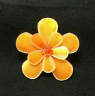 Vintage PONO Orange FLOWER BROOCH by Designer Joan Goodman Resin Large 3