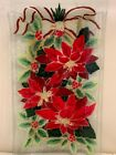 Peggy Karr Fused Art Glass Poinsettia Tray or Platter