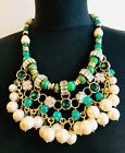 GORGEOUS VINTAGE FRENCH DESIGNER UNSIGNED GLASS PEARL CRYSTAL STATEMENT NECKLACE