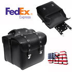 New 1Pair Motorcycle Bike Side Saddlebag Luggage Bag Black PU Leather Waterproof