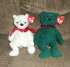 2- TY Beanie Babies 2000 HOLIDAY TEDDY AND 2001 HOLIDAY TEDDY  WITH TAGS