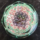 Vintage Murano Millefiori Large Faceted Daisy Paperweight Gold Flecks Italy