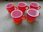 Four Fire King red/orange Kimberly cups - Four Great condition and one for using