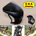 7'' Headlight Retro Cafe Racer Handlebar Fairing Windshield For Harley Matte Blk