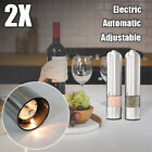 2pack set Stainless Steel Pepper Salt Grinder Automatic Electric Spice Herb Mill