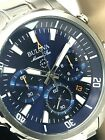 Bulova Marine Star Blue Dial Chronograph Stainless Steel Men's Watch 96B256