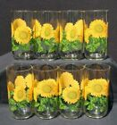 Set of 8 Vintage Libbey Sunflower Glasses Tumbler Sunflower tea water glasses