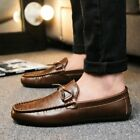 US Mens Driving Casual Boat Shoes Leather Outdoor Moccasins Slip on Loafers