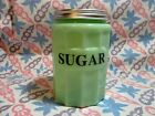 Jadeite Green Glass Medium Sugar Canister with Metal Lid in Excellent Condition
