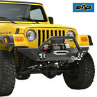 EAG Front Bumper W Winch PlateD rings Textured Fits 87 06 Jeep Wrangler TJ YJ