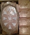 Anchor Hocking Vintage Snack 8 Piece Set Grape Plate Cup Clear Tea Party Dessert