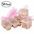 50Pcs Love Heart Bird Cage Favor Ribbon Gift Box Candy Boxes Wedding Party Decor