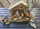 VINTAGE ITALIAN NATIVITY SET CHRISTMAS MANGER SCENE 16 FIGURES MADE IN ITALY