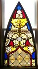 ANTIQUE 1800s ARCH LEADED STAINED GLASS CHURCH WINDOW 52 x 27 GOTHIC ART VGC