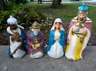 Christmas Nativity 3 Wise Men Mother Mary Blow Mold General Foam Set Of 4 Vtg