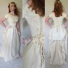 Vintage 1950s Wedding Dress Cream Beaded Satin Short Sleeved Rear Bustle Small