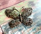 Large Butterfly Pendant Connector Link Antiqued Bronze Spring Charm Chandelier