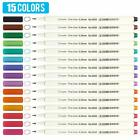 15 Assorted Colors 038mm Needle Point Tip Water Based Ink Micro Pen Fineliners