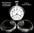 Rare 18 Size BOW LESS 21 Jewel Salesman Display Case Pocket Watch Hampden