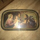 Vintage Religious The Holy Family Ornate Frame Glass Picture