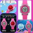 BNIB Childrens Kids Sports Watch Stop Watch LED Backlight Neon Pink Girls Watch