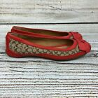 COACH Signature Logo Saundra Ballet Flat Shoes Red Bow Loafers Size 6B