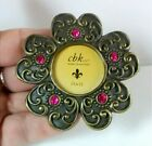 Magnetic Picture Frame Antiqued Jeweled Brass Flower