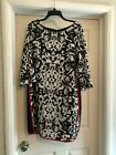 Vince Camuto Womens Shift Dress White  Black Print With Red Trim new sz 16
