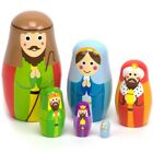 Nesting Nativity Wooden Christmas Holiday Nesting Doll Set with 6 Dolls by