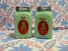 Jadeite Green Glass Sunbeam Girl Arched Salt and Pepper Shakers / Excellent Cond