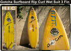 Surfboard 1984 Yellow Gotcha Rip Curl Wet Suits 65 Surf Board USA Signed Ron
