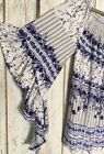XL 1X 2X 3X New White Blue Floral Peasant Top Boho Ruffles Blouse Smocked