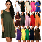 Women's Summer Cold Shoulder Tunic Top T-shirt Swing Dress With Pockets