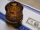 Vintage Indiana Glass Amber Candle FAIRY LIGHT in STARS AND BARS PATTERN