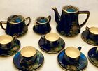 ANTIQUE JAPANESE SATSUMA TEA SET GOSU BLUE with GOLD 18 PIECES Rare clay
