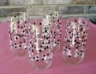 Vintage Confetti Glasses Glassware Tumblers Black and White Squares (4) Retro