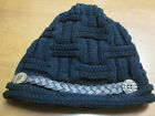 BLACK BEANIE HAT - WOMENS - WOVEN TRIM ACROSS FRONT WITH BUTTONS - NEW -