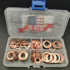 Car Engine Oil Drain Copper Gaskets Flat 1/4''-5/8'' 110 pieces Copper washer #