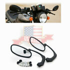 (Left&Right) Motorcycle Cafe Racer Retro Rearview Side Mirror Black US Stock !