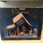 FONTANINI ITALY LARGE LIGHTED STABLE MANGER FOR NATIVITY VILLAGE W BOX