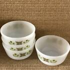 4 Fire King Anchor Hocking Custard Cups Meadow Green Small Bowls Dishes Vintage