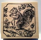Northwoods Squirrel on Log Wood Mounted Rubber Stamp
